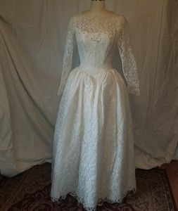 Vintage candlelight lace over tulle wedding gown